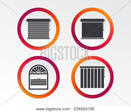 Louvers Icons. Plisse, Rolls, Vertical And Horizontal. Window Blinds Or Jalousie Symbols. Infographi