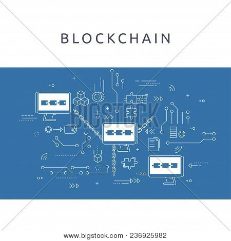 Blockchain Technologie Process Abstract Illustration In Thin Line Style. Crypto-currency Vector Conc