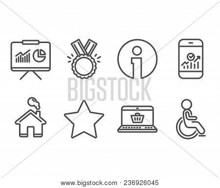 Set Of Star, Honor And Smartphone Statistics Icons. Presentation, Online Shopping And Disabled Signs