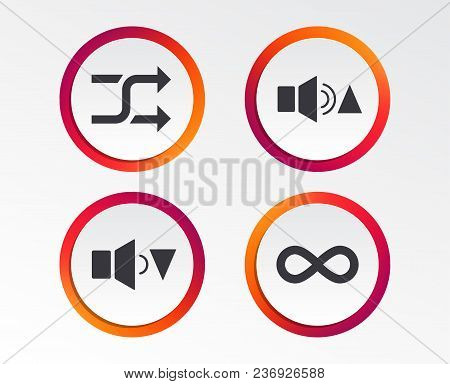 Player Control Icons. Sound Louder And Quieter Signs. Dynamic Symbol. Shuffle Random And Repeat Loop