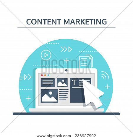 Content Marketing And Blogging Concept In Flat Design. Creating, Marketing And Sharing Of Digital -