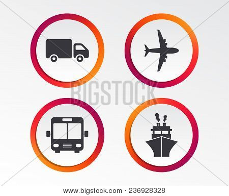 Transport Icons. Truck, Airplane, Public Bus And Ship Signs. Shipping Delivery Symbol. Air Mail Deli