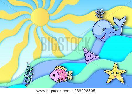 Ocean Animals Float On Waves. Vector Illustration.