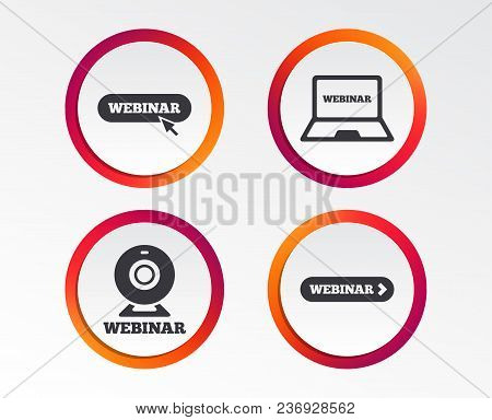 Webinar Icons. Web Camera And Notebook Pc Signs. Website E-learning Or Online Study Symbols. Infogra