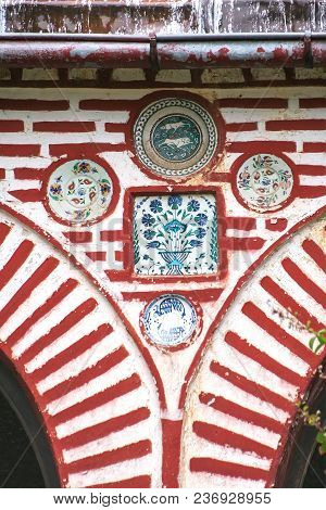 Athos Monastery. Decoration Of The Entrance With Ceramics. Greece
