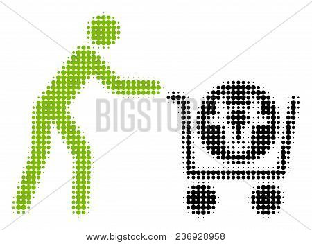 Beef Purchase Halftone Vector Icon. Illustration Style Is Dotted Iconic Beef Purchase Icon Symbol On