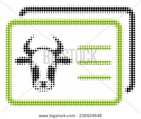 Cow Account Cards Halftone Vector Pictogram. Illustration Style Is Dotted Iconic Cow Account Cards I