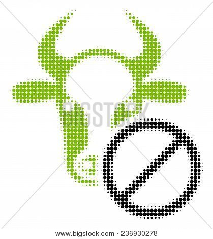 Cow Forbidden Halftone Vector Pictogram. Illustration Style Is Dotted Iconic Cow Forbidden Icon Symb