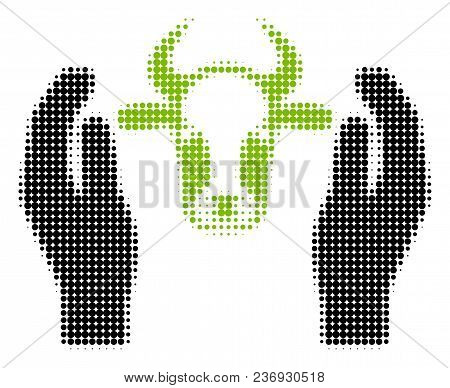 Cow Head Care Hands Halftone Vector Icon. Illustration Style Is Dotted Iconic Cow Head Care Hands Ic