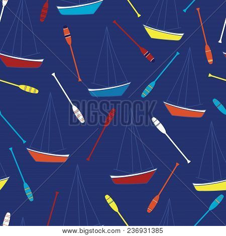 Floating Sailboat With Red, Blue, Yellow And Orange Oars On A Blue Background. Vector, Repeat Seamle