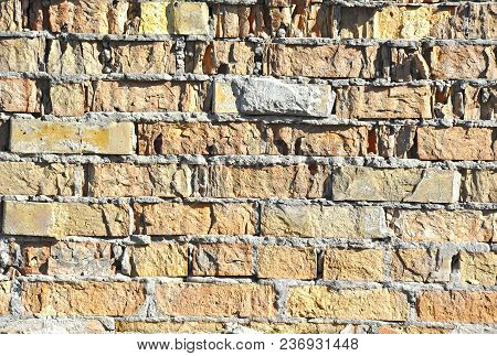 Background From Vintage Brick Wall, Close Up