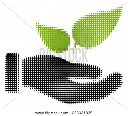 Eco Startup Hand Halftone Vector Pictogram. Illustration Style Is Dotted Iconic Eco Startup Hand Ico