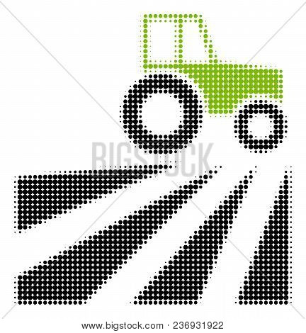 Farm Field With Tractor Halftone Vector Icon. Illustration Style Is Dotted Iconic Farm Field With Tr