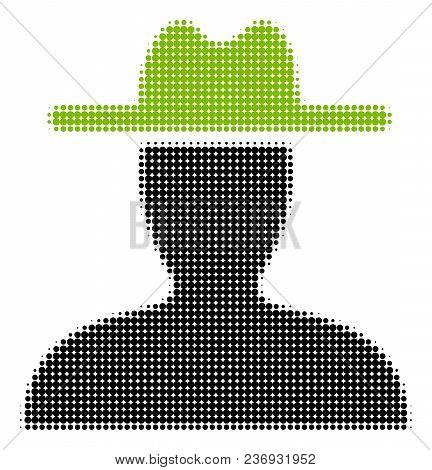 Farmer Halftone Vector Pictogram. Illustration Style Is Dotted Iconic Farmer Icon Symbol On A White