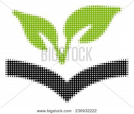 Flora Knowledge Halftone Vector Pictogram. Illustration Style Is Dotted Iconic Flora Knowledge Icon