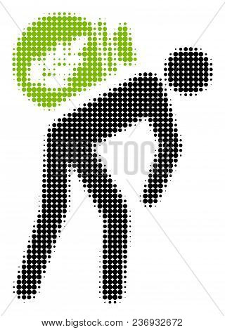 Harvest Porter Halftone Vector Icon. Illustration Style Is Dotted Iconic Harvest Porter Icon Symbol