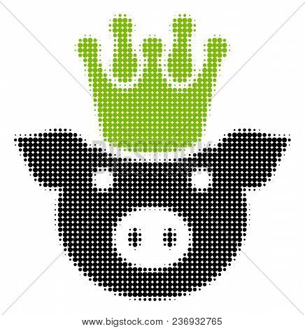 King Pig Halftone Vector Pictogram. Illustration Style Is Dotted Iconic King Pig Icon Symbol On A Wh