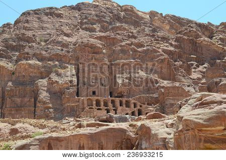 Petra, Jordan - July 23, 2015:  Tourists Explore The Ruins Of The Unesco World Heritage Site In Petr