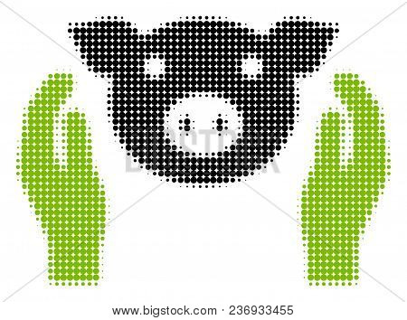 Pig Care Hands Halftone Vector Pictogram. Illustration Style Is Dotted Iconic Pig Care Hands Icon Sy