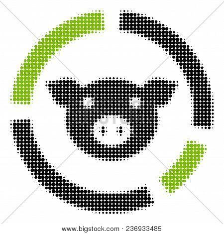 Pig Diagram Halftone Vector Icon. Illustration Style Is Dotted Iconic Pig Diagram Icon Symbol On A W