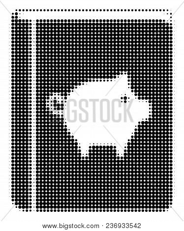 Pig Handbook Halftone Vector Icon. Illustration Style Is Dotted Iconic Pig Handbook Icon Symbol On A