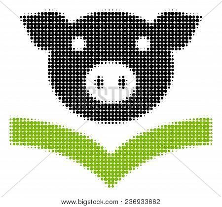 Pig Knowledge Halftone Vector Pictogram. Illustration Style Is Dotted Iconic Pig Knowledge Icon Symb
