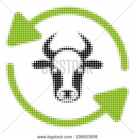 Refresh Cow Halftone Vector Pictogram. Illustration Style Is Dotted Iconic Refresh Cow Icon Symbol O