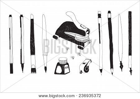 Hand Drawn Stationery And Art Supplies Set. Vector Doodle Illustration. Set Of School Accessories An