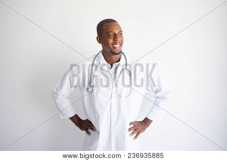 Smiling Handsome Young African American Male Doctor. Healthcare Concept. Isolated Front Closeup View