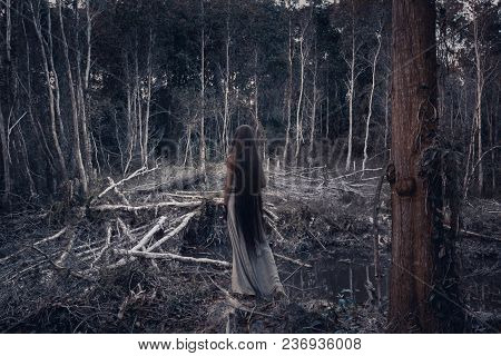 Beautiful Young Woman Model With Very Long Hair In Forest. Witch Craft Concept