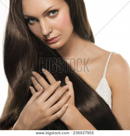 Portrait of woman with healthy looking long hair