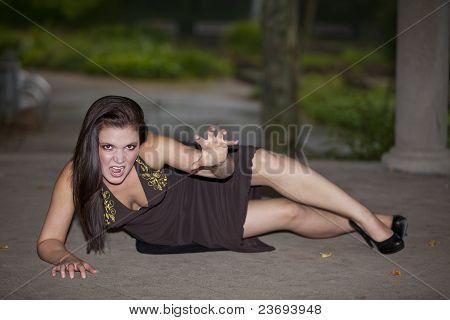 brunette woman posing on floor