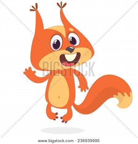 Cute Cartoon Squirrel Waving Paw. Vector Clip Art Illustration With Simple Gradients.