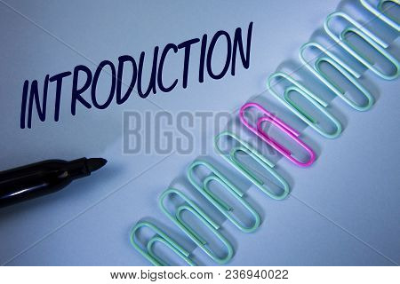 Word Writing Text Introduction. Business Concept For First Part Of A Document Formal Presentation To
