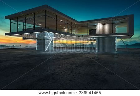 Perspective View Of Empty Cement Floor With Modern Steel And Glass Building Exterior . 3d Rendering