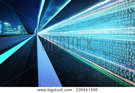 Tunnel Road With Binary Code Numbers On Motion Blurred Asphalt Road , Speed And Faster Digital Matri