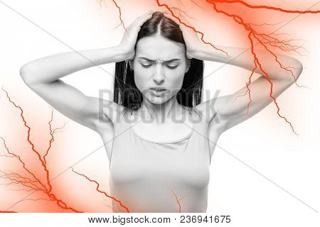 Headache, sick woman with temples pain, red nerve effect, white background. Female person in lingerie, medical advertising or concept