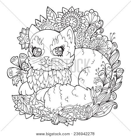 Page Coloring Kitten Vector & Photo (Free Trial) | Bigstock
