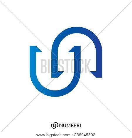 Initial Letter U And N, Or S And C Logo With Number 1 Sign Logo Concept. Vector Illustration.