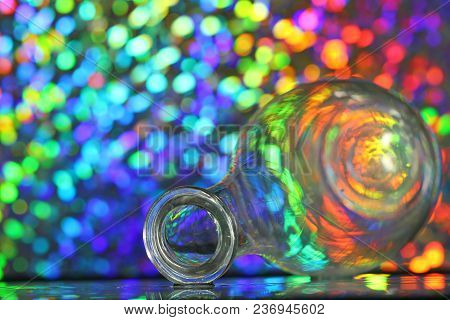 A Glass Wine Decanter On A Colorful Background, Selective Focus.