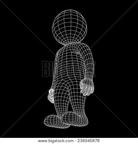 Wireframe Low Poly Mesh Human Cartoon Body In Virtual Reality. Medical Blueprint Scanned 3d Model. P