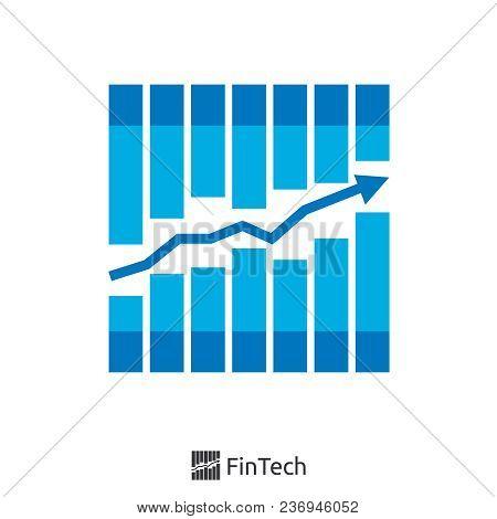 Graph And Arrow Finance Logo Concept. Fin Tech Logo. Logo Illustration