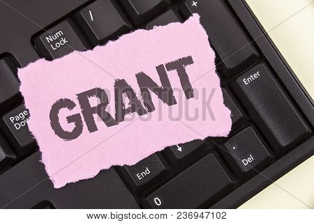 Conceptual Hand Writing Showing Grant. Business Photo Showcasing Money Given By An Organization Or G
