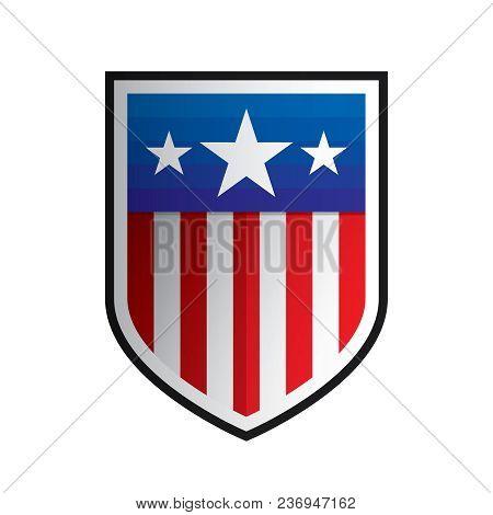 Isolated American Shield Shape Logo. Us Flag Style Logo Vector.