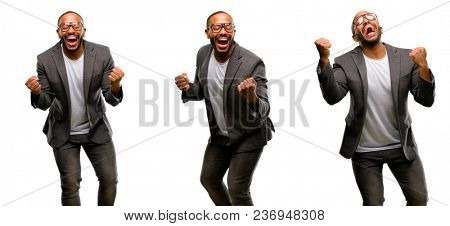 African american man with beard happy and excited celebrating victory expressing big success, power, energy and positive emotions. Celebrates new job joyful
