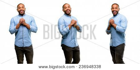 African american man with beard confident and happy with a big natural smile in love