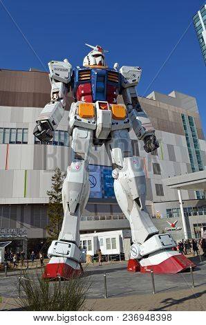 Image Of A Giant Gundam Statue, A Popular Japanese Franchise, Captured In Tokyo, Japan On Feb 16, 20