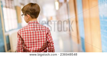 Handsome toddler child with green eyes backside, rear view at school corridor