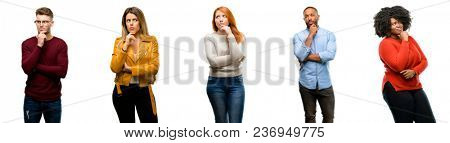 Group of cool people, woman and man doubt expression, confuse and wonder concept, uncertain future
