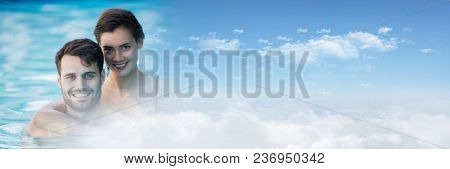 Couple in Swimming pool with sky transition